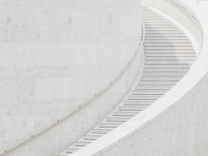 white curving staircase