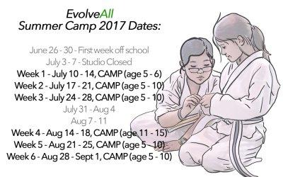 2017 Summer Camp Dates! Registration OPEN.