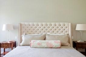 Master bedroom, custom headboard, luxury bedding