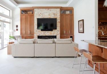 Family room, custom built ins, fireplace