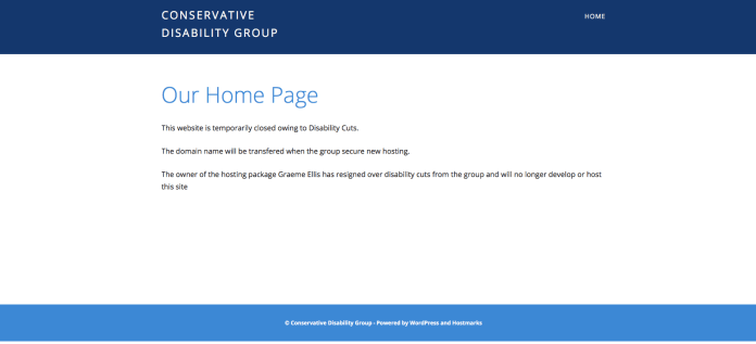 The Conservative Disability Group have temporarily closed their website 'owing to disability cuts'.