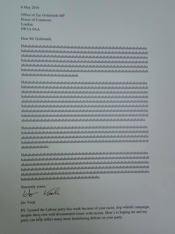 Zac Goldsmith commiseration letter