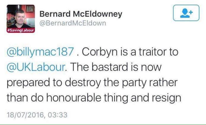 Bernard McEldowney Twitter Corbyn Traitor Bastard