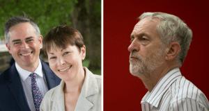 Jeremy Corbyn Caroline Lucas Jonathan Bartley
