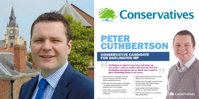 Peter Cuthbertson, the Tory candidate for Darlington, is under pressure to stand down.
