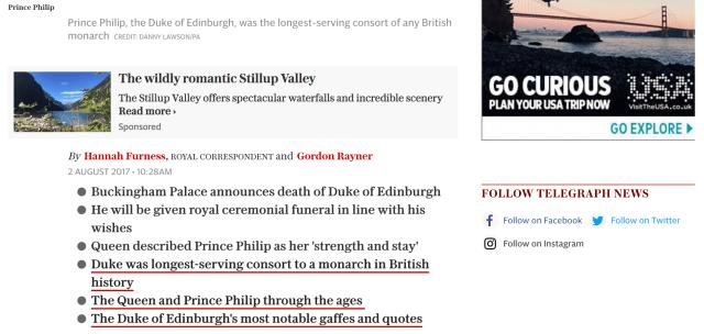 Prince Phillip Telegraph Obituary