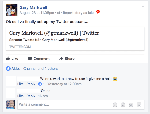 Gary Markwell Open Twitter Account