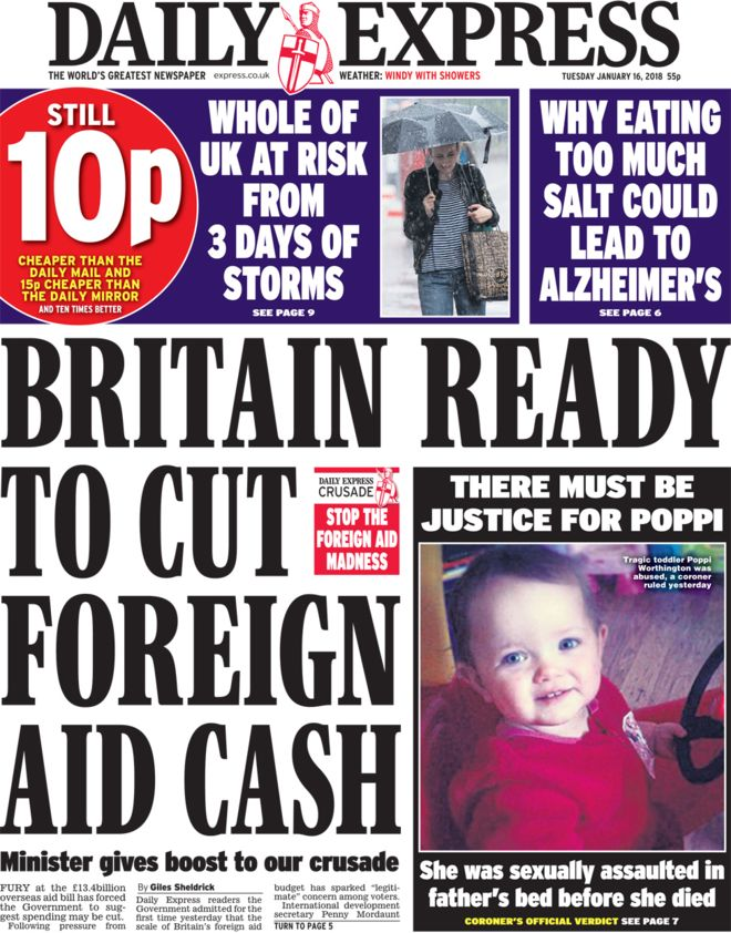 Daily Express Front Page - 16.01.18