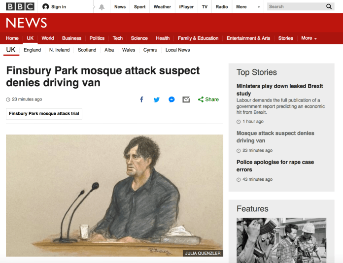 BBC Headline - Man Denies Driving Van