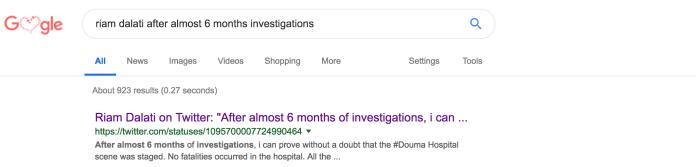 Riam Dalati - Syria Douma Staged Chemical Attack Tweet Google