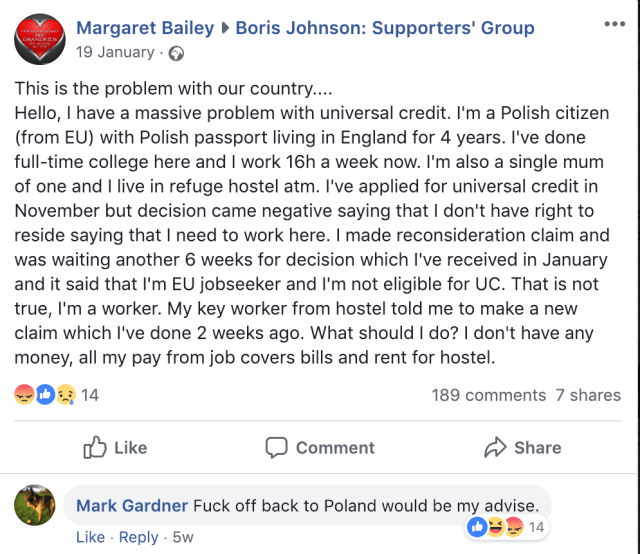 "Boris Johnson Supporters' Group ""Fuck off back to Poland"""