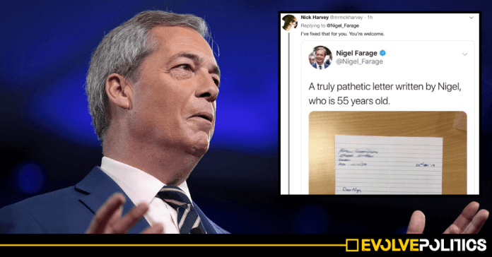 Nigel Farage accused of faking bizarre letter from '10-year old Brexiteer' whose 'pro-EU teachers' supposedly
