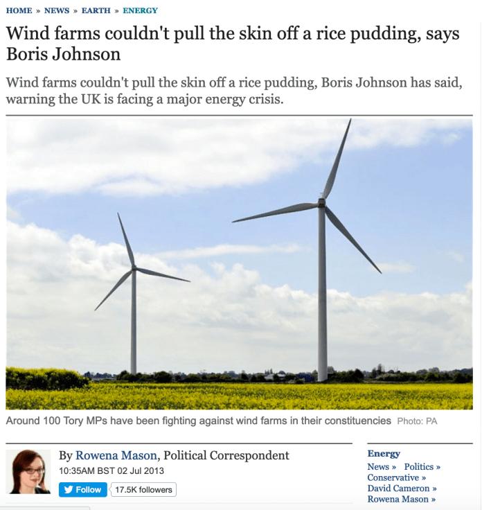 Boris Johnson Wind Turbines Rice Pudding Telegraph