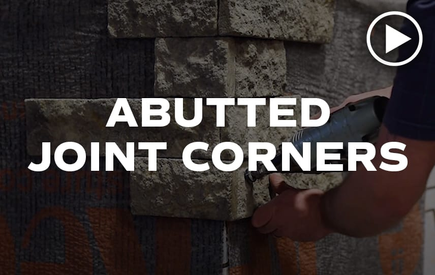 Abutted Joint Corners video thumbnail with man installing Evolve Stone on corner in the background