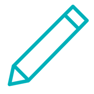 teal graphic of pencil icon