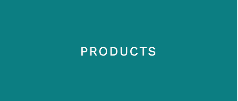 teal background and text in white that says products
