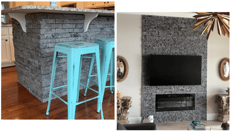 two seperate images of grey faux stone installed on the bottom of a kitchen island with blue stools and installed behind mounted tv and on fireplace