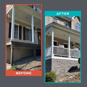 Before and after of porch base redone with Evolve Stone