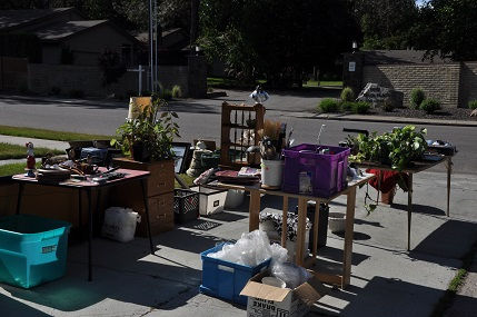 Household Clutter being sold in yard sale before moving into an RV Full time.