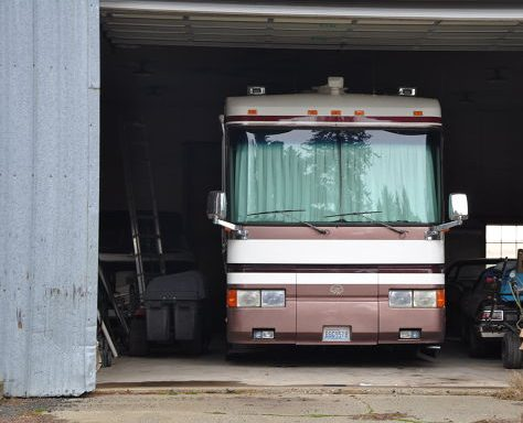 97 Monaco Signature in our winter storage shop before leaving on our full time RV adventure.