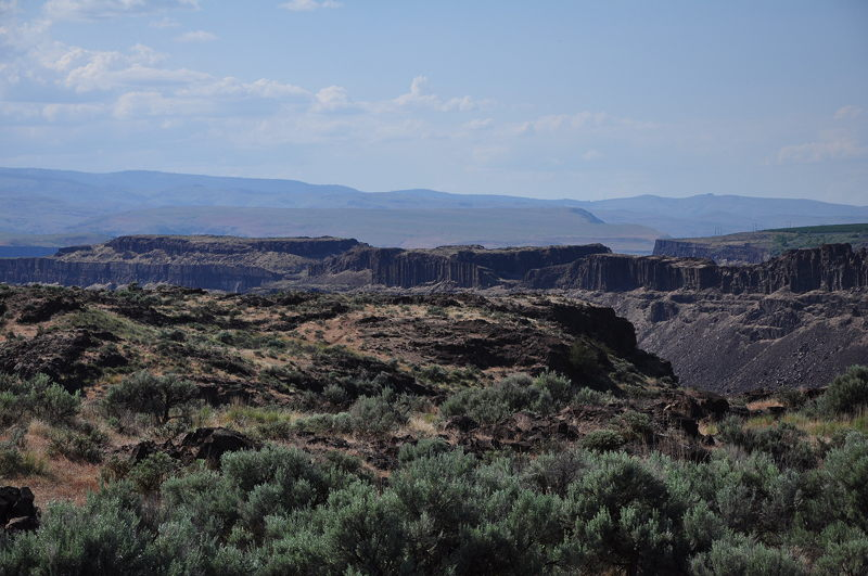 A view of the hills and gourges near Quincy Lake in Eastern Washington while boondocking and living in the RV full time.