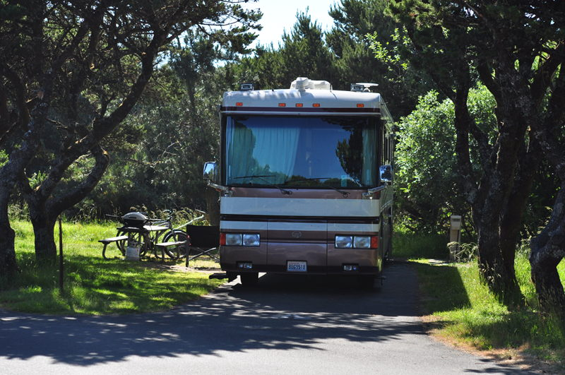Our site at Nehelam Bay State Park on the Oregon Coast near Manzanita on our full time RV living adventure.