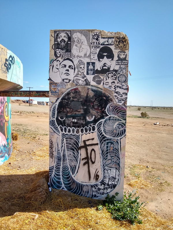 Artwork within Slab City on a old slab of concrete.