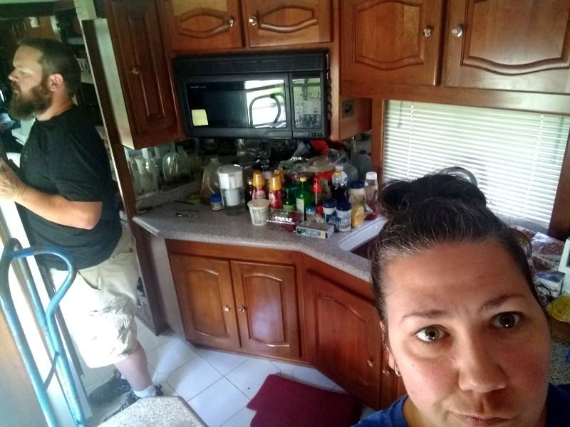 Adrianne's angry face while removing all the contents of the fridge in order to move it.