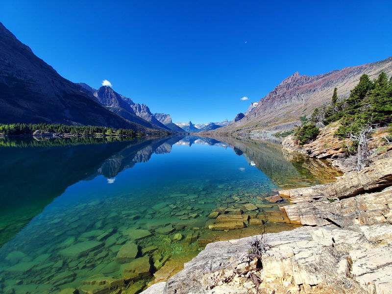Saint Mary Lake in Glacier National park during our stop for lunch.
