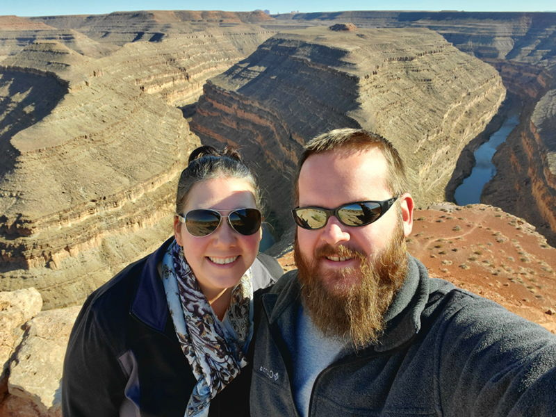 A selfie of Adam and Adrianne at Goosenecks State Park.