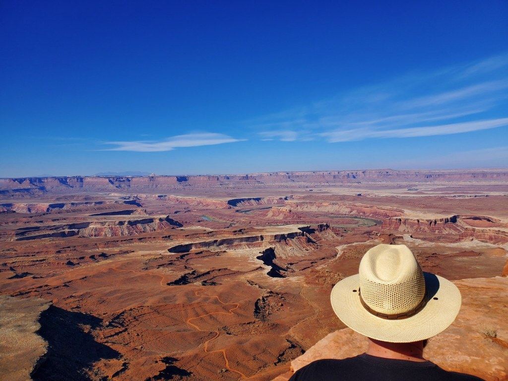 Adam looking out into the deep canyons inside Canyonlands National Park.