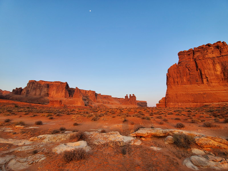 Sunrise in Arches National Park.