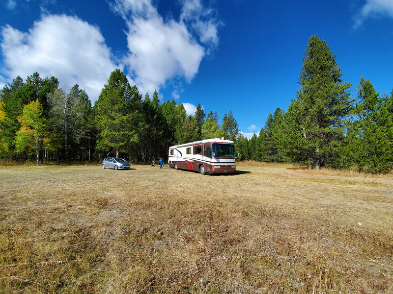 Our RV spot south of Yellowstone next to the trees.