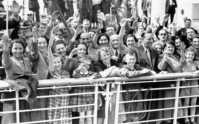 FILE - In this June 17, 1939 file photo, German Jewish refugees return to Antwerp, Belgium, aboard the St. Louis after they had been denied entrance to Cuba and the United States. More than 76 years later, fresh angst about whether to admit refugees or turn them away has put the spotlight back on the shunning of the St. Louis and other, now widely regretted, decisions by U.S. officials before and during World War II. (AP Photo, File)