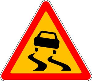 временный знак 1.15 Скользкая дорога