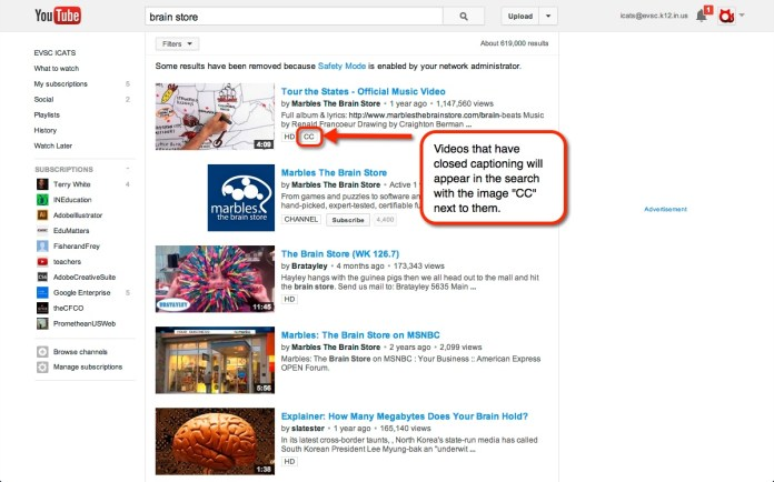 cc search in youtube