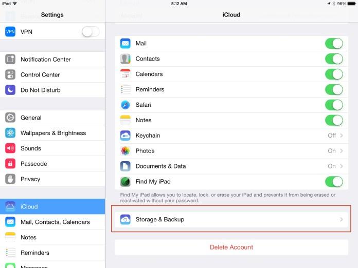 Select Storage and Backup