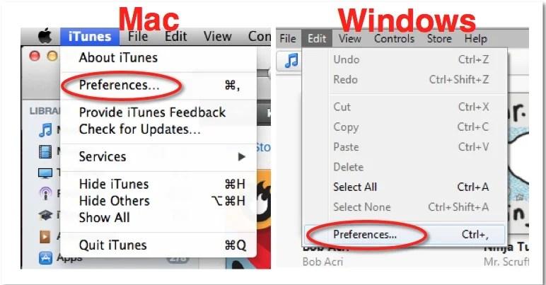 iTunes Prefs