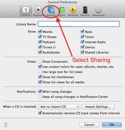 iTunes Sharing tab