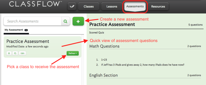 assessments tab classflow