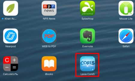 Select Lexia Core5 icon on the iPad