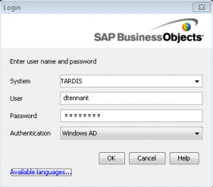 Login box for Report Conversion Tool on BOBJ XI3.1
