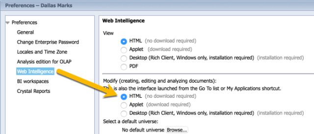 Updating Web Intelligence panel in BI Launch Pad