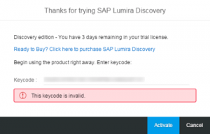 SAP Lumira Discovery - This keycode is invalid.
