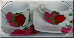 malowana filiżanka róże
