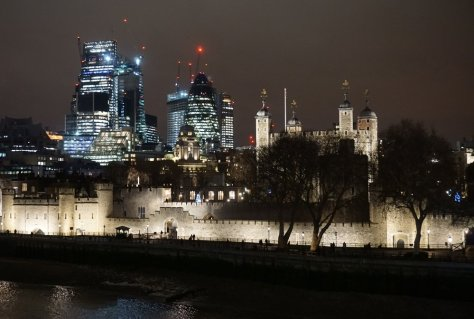 The Tower of London and the 'Gherkin' seen from Tower Bridge