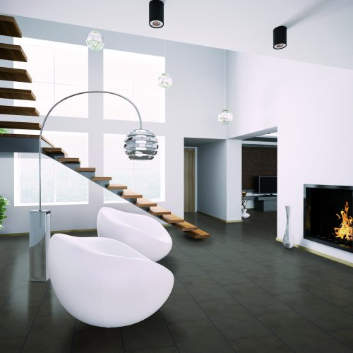 Modern interior with fireplace and staircase 3d