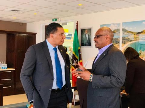 Dr. Minnis chats with Jamaica's PM at CARICOM
