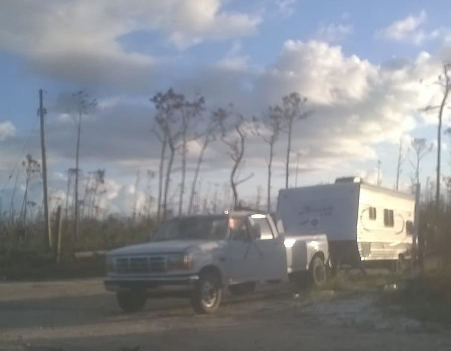 RV checkpoint set up outside Abaco shantytown