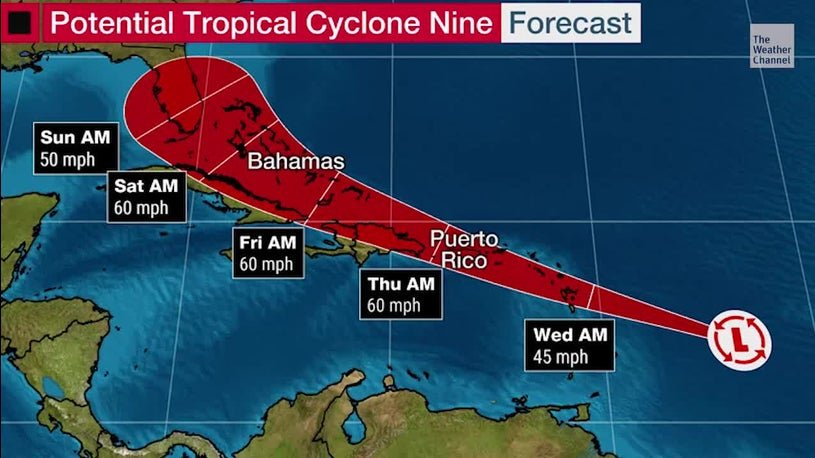 Weather system intensifies, 80 percent chance of becoming named storm